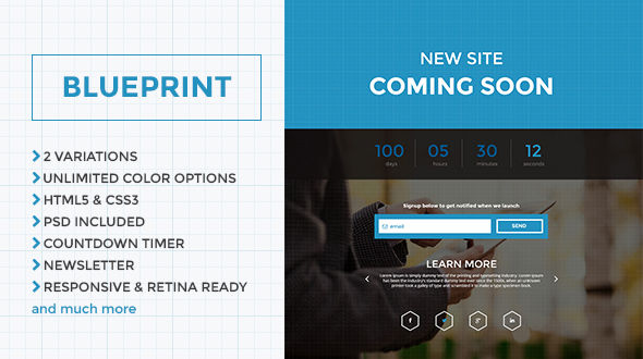Blueprint responsive coming soon html page template mojo themes blueprint responsive coming soon html page template malvernweather Image collections