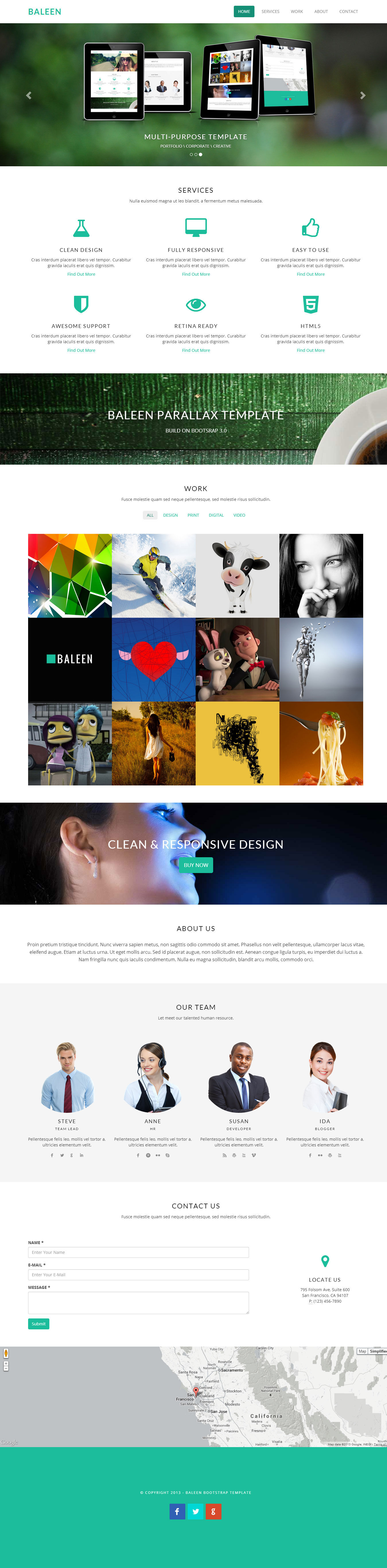 baleen bootstrap one page parallax template mojo themes