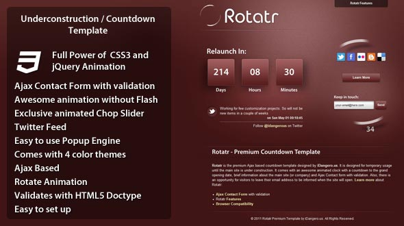 Rotatr – Countdown / Underconstruction Template Free Download