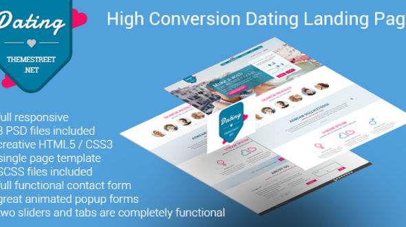 high converting dating landing page