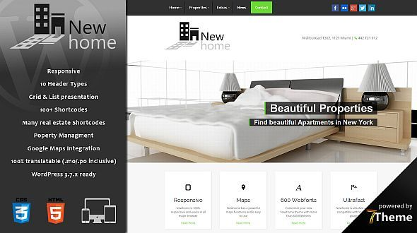 Newhome - a responsive Real Estate WordPress Theme - Mojo Themes