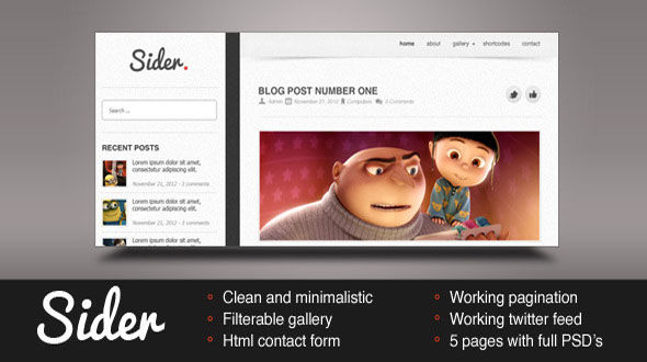 Sider HTML Template Free Download