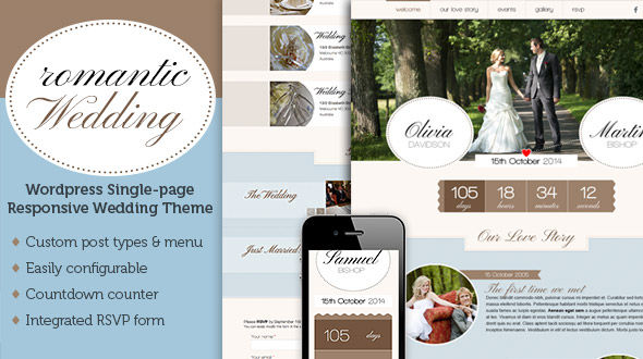 Romantic Wedding – one page responsive wedding theme Free Download