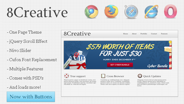 8Creative One Page HTML Theme Free Download